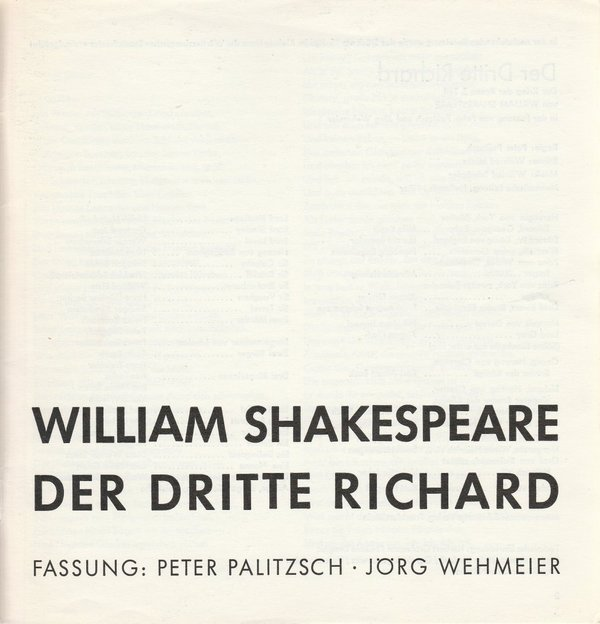Programmheft William Shakespeare DER DRITTE RICHARD Staatstheater Stuttgart 1968