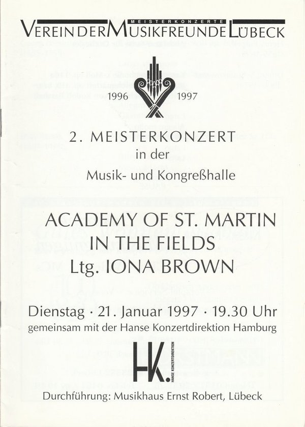 Programmheft 2. MEISTERKONZERT ACADEMY OF ST. MARTIN IN THE FIELDS Lübeck 1997