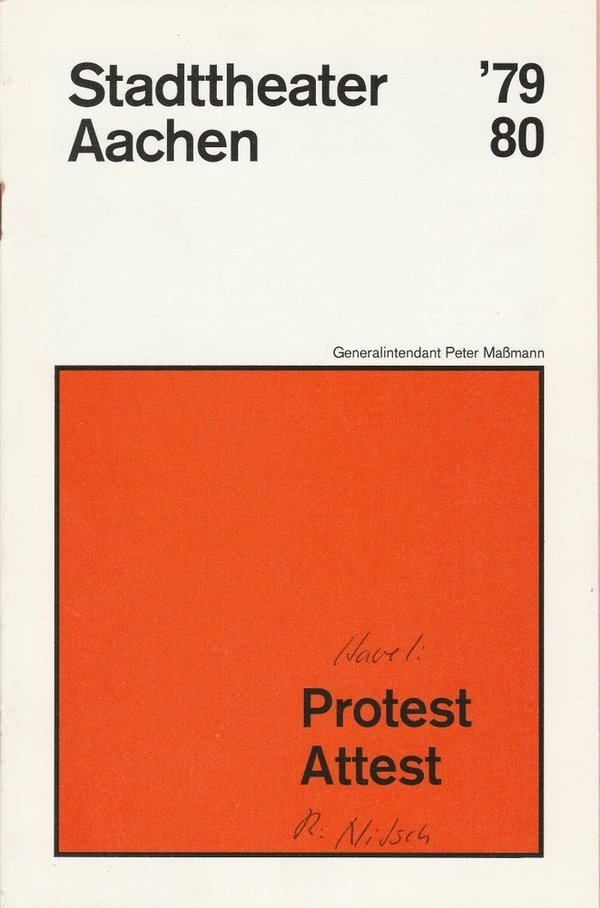 Programmheft Vaclav Havel PROTEST / Pavel Kohout ATTEST Aachen 1980