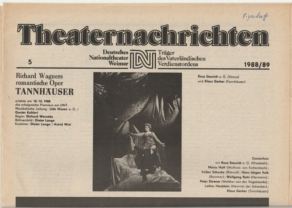 Theaternachrichten Deutsches Nationaltheater Weimar 5 - 1988 / 89