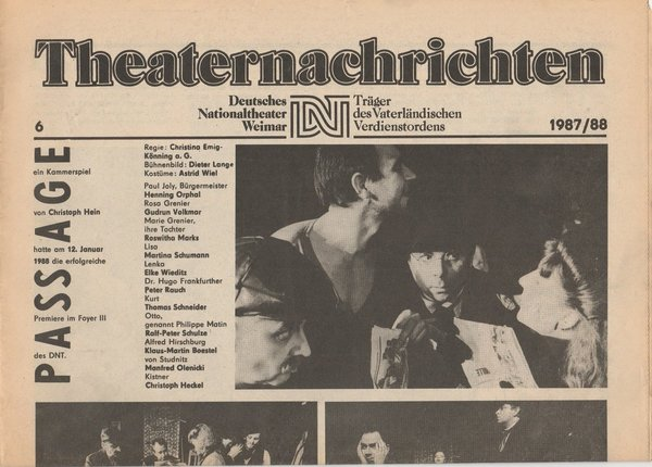 Theaternachrichten Deutsches Nationaltheater Weimar 6 - 1987 / 88