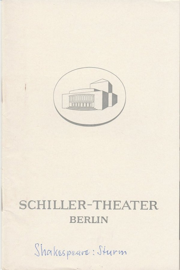 Programmheft William Skakespeare DER STURM Schiller-Theater Berlin 1968